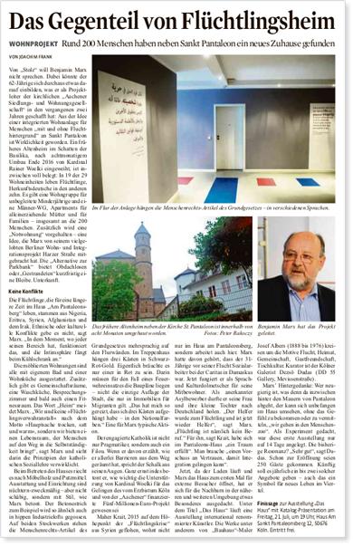 Artikel über Wohnprojekt für Flüchtlinge im Kölner Stadt Anzeiger